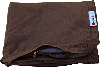 Dogbed4less Heavy Duty Chocolate Brown Denim Jean Dog Pet Bed External Cover for Small Medium to Extra Large Pet Bed - Replacement Cover only