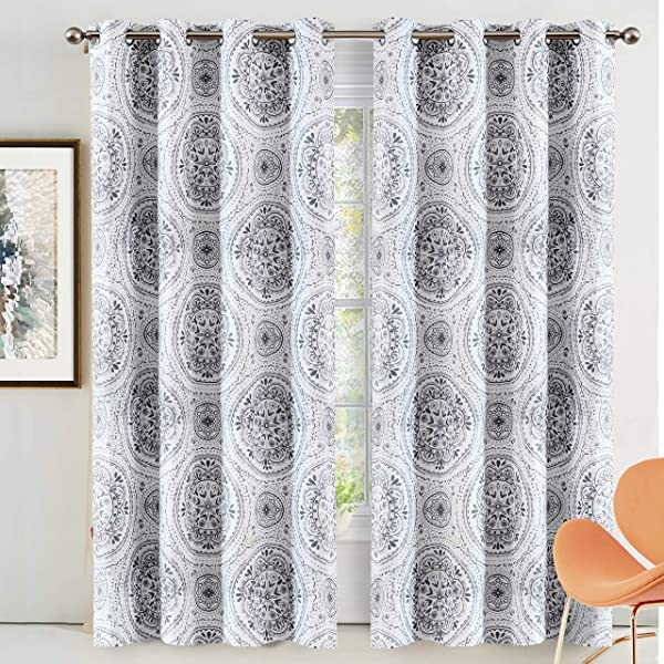 DriftAway Lucia Medallion Blackout Room Darkening Grommet Lined Thermal Insulated Energy Saving Window Curtains 2 Panels 2 Layers Each 52 Inch By 84 Inch Gray