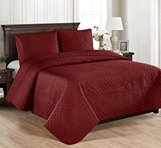 Brielle Basket Weave Quilt Set, Full/Queen, Red