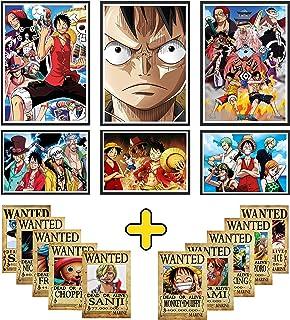 Poster One Piece: Lot De 6 Posters Manga +10 Cartes Prime Avis De Recherche One Piece Wanted- Affiches Pour Tableau Decora...