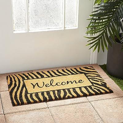 Deco 79 150002 Indoor Outdoor Doormat, Non-Slip Floor, Front Door Welcome Mat for Entryway, Patio, Garage, Brown