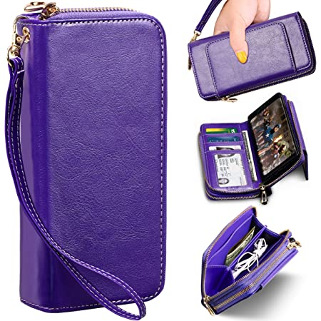 E LV Purse Wallet Case for Samsung Note 9 (PU Leather) Detachable 2in1 Folio Purse Credit Card Flip Case with Card Slots, Stand and Magnetic Closure for Samsung Galaxy Note 9 (Purple)