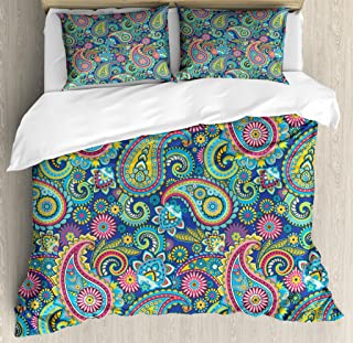 Ambesonne Paisley Duvet Cover Set King Size, Ornate Traditional Paisley Elements with Original Ethnic Details Bohemian Style Decor, Decorative 3 Piece Bedding Set with 2 Pillow Shams, Blue Yellow
