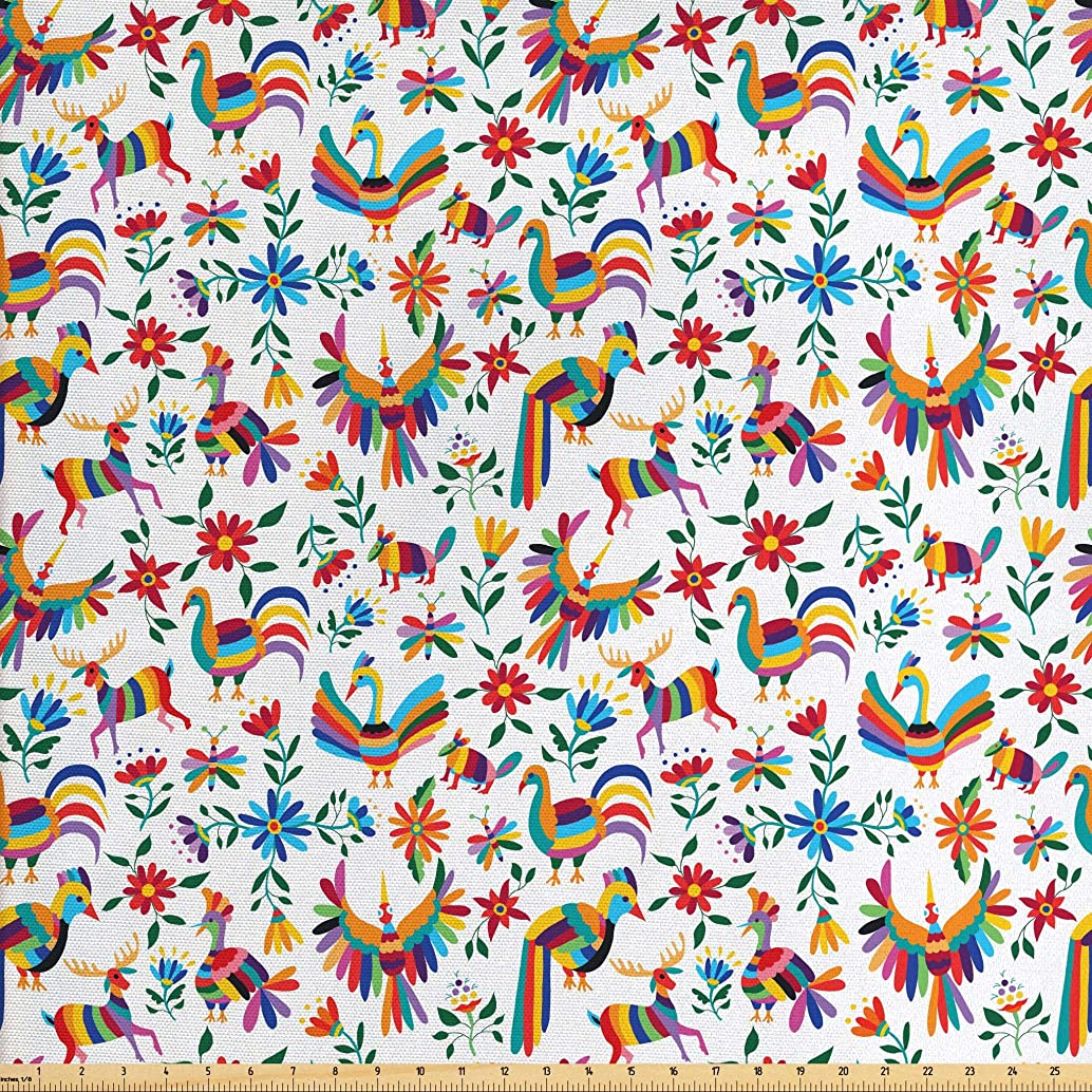 Ambesonne Mexican Fabric by The Yard, Traditional Latin American Art Design with Natural Inspirations Flowers and Birds, Decorative Fabric for Upholstery and Home Accents, 3 Yards, Multicolor