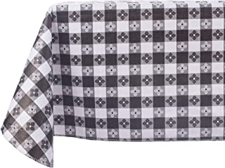 Yourtablecloth Checkered Vinyl Tablecloth with Flannel Backing for Restaurants, Picnics, Bistros, Indoor and Outdoor Dining (Black and White, 52X90 Rectangle/Oblong)