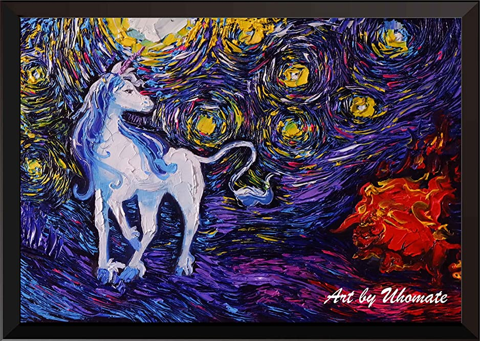 面倒八百屋一緒uhomateユニコーンThe Unicorns壁装飾Vincent van Gogh starry nightポスターホームキャンバス壁アート記念ギフトベビーギフト子供部屋装飾用リビングルーム壁装飾a054 13X19 inch
