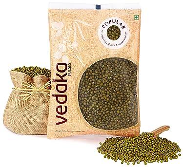 Amazon Brand - Vedaka Popular Green Moong Whole, 1kg