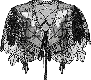 BABEYOND 1920s Shawl Wraps Sequin Beaded Evening Cape Bridal Shawl Bolero Flapper Cover Up