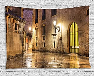Ambesonne Gothic Tapestry, Gothic Stone Quarter of Barcelona Spain Renaissance Heritage Night Street Photo, Wide Wall Hanging for Bedroom Living Room Dorm, 60