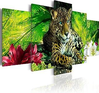 murando - Cuadro 200x100 cm - Animal - impresión de 5 Piezas - Material Tejido no Tejido - impresión artística - Imagen gráfica - Jaguar Naturaleza g-C-0042-b-m