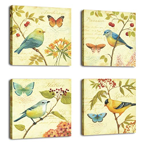 CUFUN Art-Bird and Flower 4 Piece Stretched and Framed Artwork Landscape Bird Singing Pictures Paintings on Canvas Wall Art for Living Room Bedroom Home Decorations (30 x 30cm x4pcs)