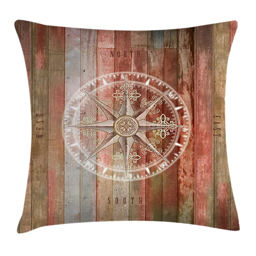 Ambesonne Marine Life Throw Pillow Cushion Cover, Ocean Sea Life Yacht Themed Warm Colored Wooden Backdrop with Compass Image, Decorative Square Accent Pillow Case, 18 X 18 Inches, Multicolor