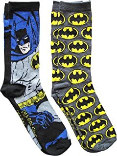 DC Comics Batman Grey Pattern Men's Crew Socks 2 Pair Pack Shoe Size 6-12