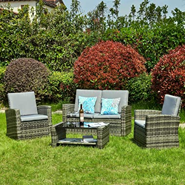 YITAHOME 5 Piece Patio Furniture Sets, All-Weather Outdoor Patio Conversation Set, PE Rattan Wicker Small Sectional Patio Sof