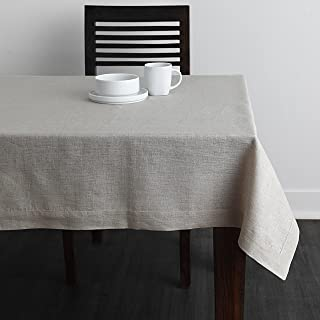 Solino Home 100% Linen Tablecloth - 60 x 90 Inch Natural, Natural Fabric, European Flax - Athena Rectangular Tablecloth for Indoor and Outdoor use