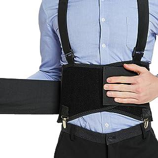 Back Support Belt with Detachable Suspenders & Removable Pants Clips - Lumbar Brace - Adjustable, Light, Breathable - Shou...