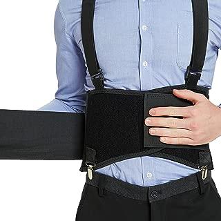 Back Support Belt with Detachable Suspenders & Removable Pants Clips - Lumbar Brace - Adjustable, Light, Breathable - Shoulder Holsters - Work, Posture - Neotech Care - Black - Size S