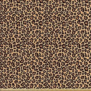 ABAKUHAUS Estampado De Leopardo Tela por Metro, Exótico Africano, Satén para Textiles del Hogar y Manualidades, 1M (148x100cm), Anaranjado Pálido Negro