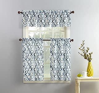 No. 918 Barker Geometric Print Microfiber 3-Piece Kitchen Curtain Set, 54