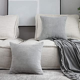 HOME BRILLIANT Set of 2 Striped Corduroy Euro Sham Fall Large Throw Pillow Cover Decorative Cushion Cover for Bed, 24 x 24 inch (60cm), Light Grey