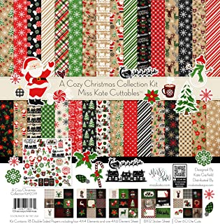 Collection - A Cozy Christmas - Paper & Sticker & Die Cut Kit - 18 Double-Sided 12x12 Papers with 37 Designs & 1 8X12 Sticker Sheet & Over 60 Die Cuts - Scrapbooking - by Miss Kate Cuttables