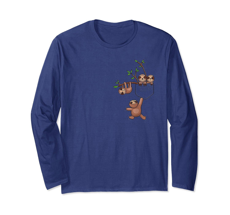 Sloth Family Lazy Sloth Sloth Pocket Shirts Long Sleeve T-shirt