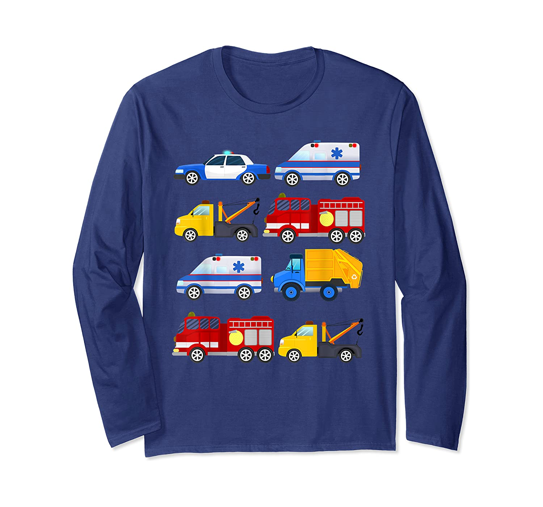 Emergency Vehicles Fire Truck Police Car Ambulance Tow Truck Shirts Long Sleeve T-shirt