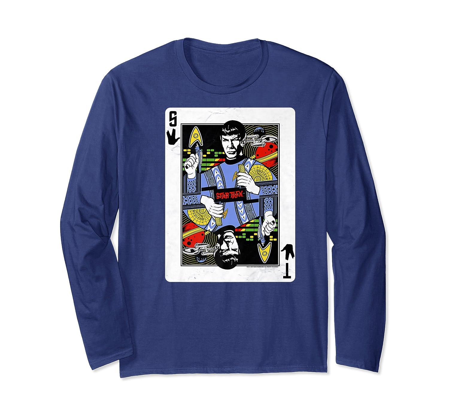Star Trek Original Series Spock Playing Card Shirts Long Sleeve T-shirt