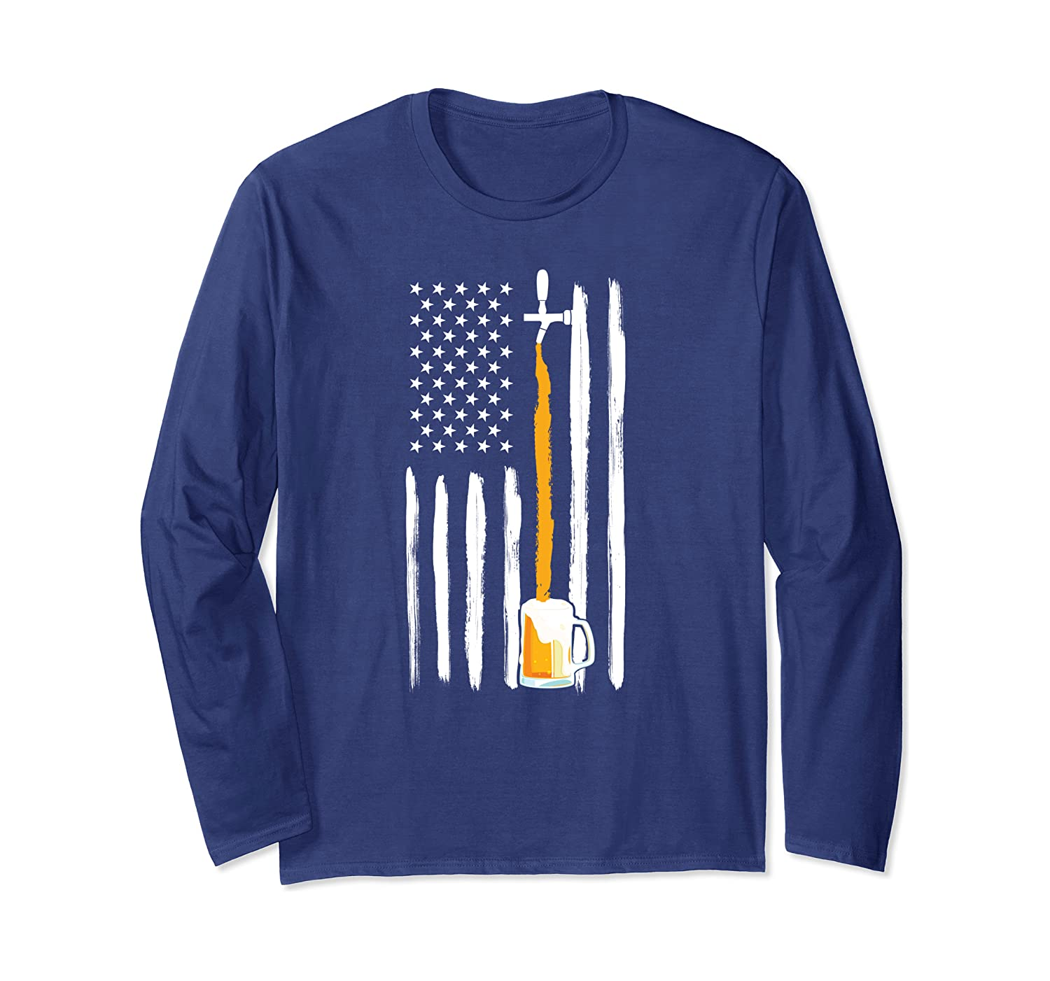 Craft Beer American Flag Patriot Brewmaster Hop Glass Gift Long Sleeve T-Shirt