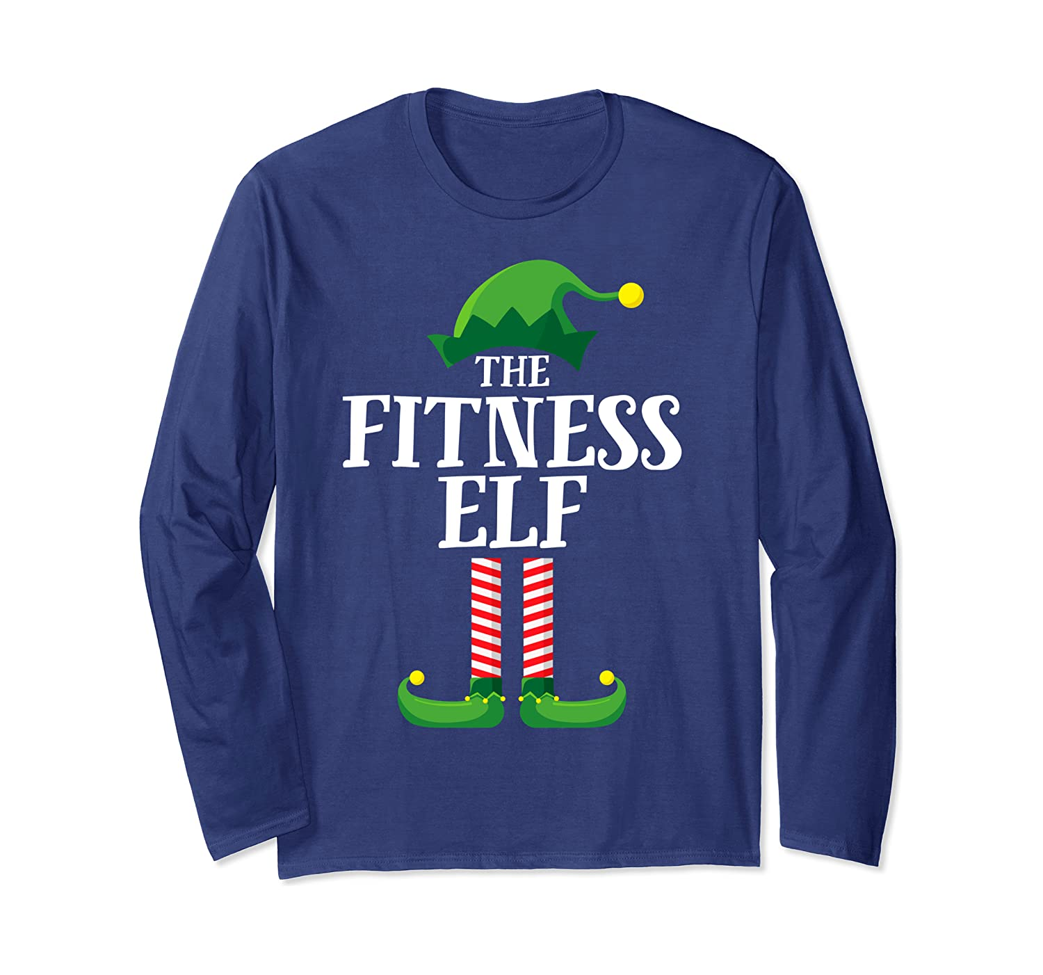 Fitness Elf Matching Family Group Christmas Party Pajama Long Sleeve T-Shirt