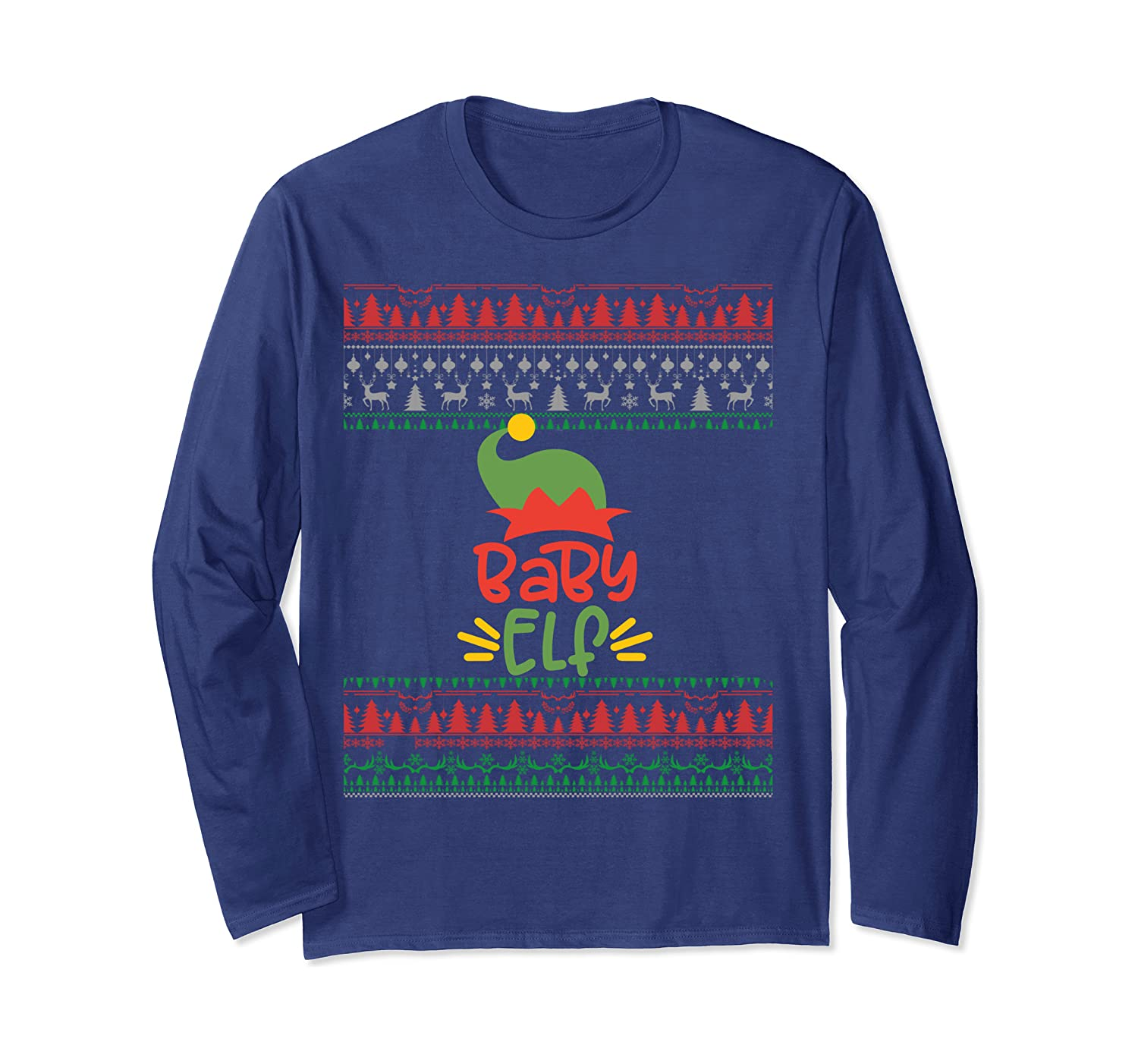 Baby Elf Matching Family Party Group Ugly Christmas Sweater Long Sleeve T-Shirt-Awarplus