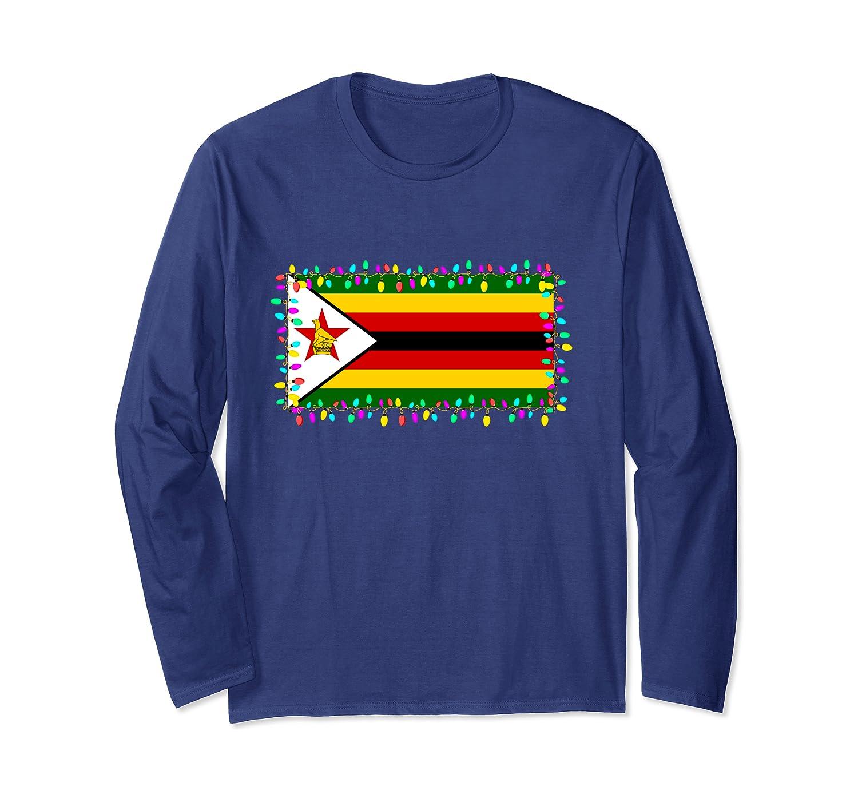 Zimbabwe Flag Christmas Lights Family Pajamas Gift Long Sleeve T-Shirt-Awarplus