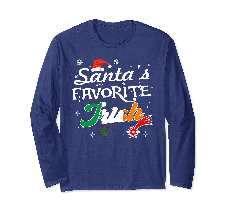 Santa's Faforite Irish Christmas Gift Ideas Long Sleeve T-Shirt-Cotoa