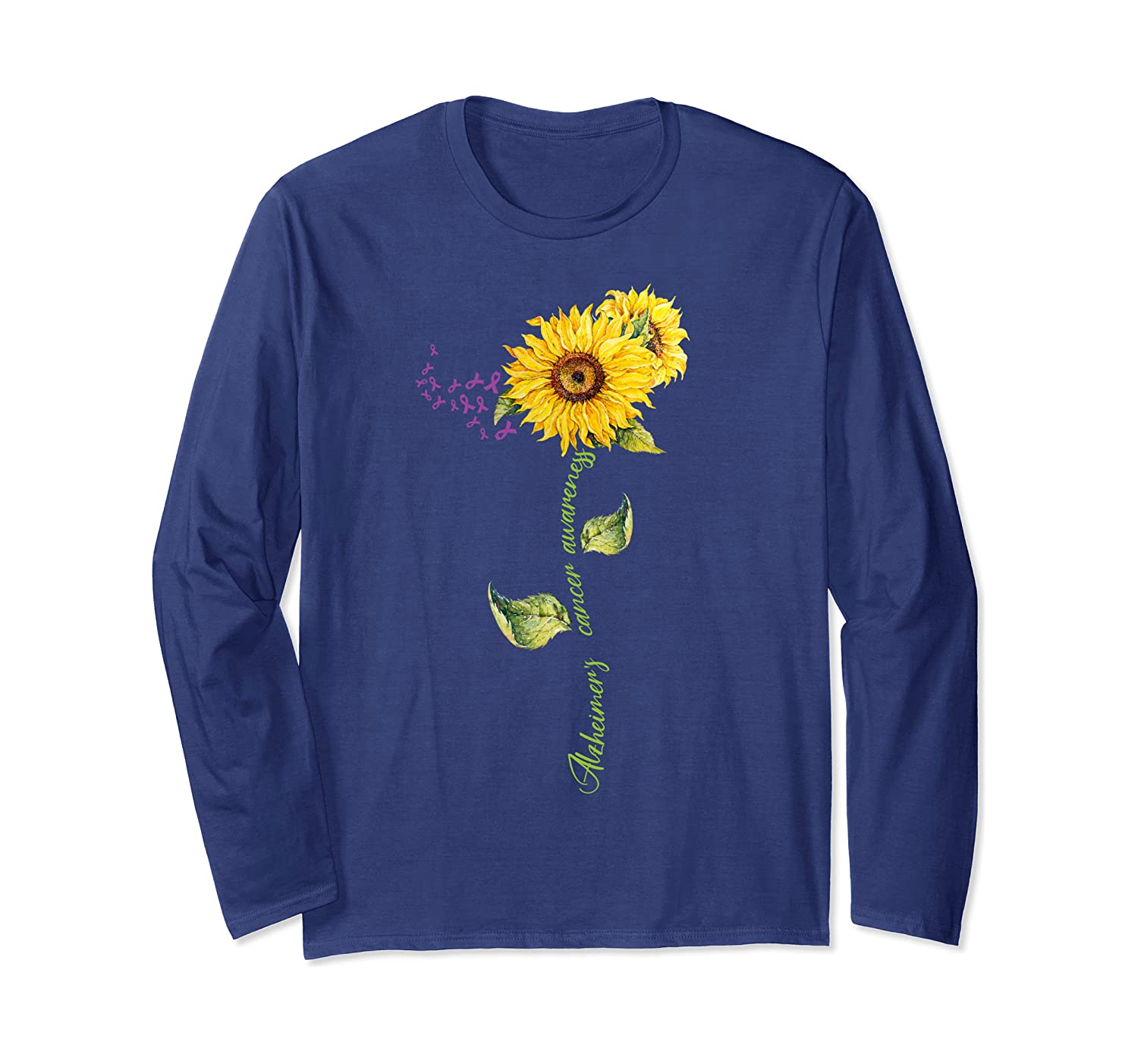 Alzheimer's Awareness Sunflower – Purple Ribbon Sunflower Long Sleeve T-Shirt-Awarplus