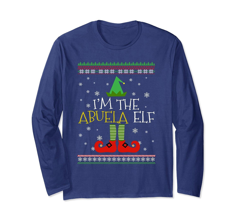 Abuela Elf Matching Family Group Christmas Party Pajama Long Sleeve T-Shirt-Awarplus