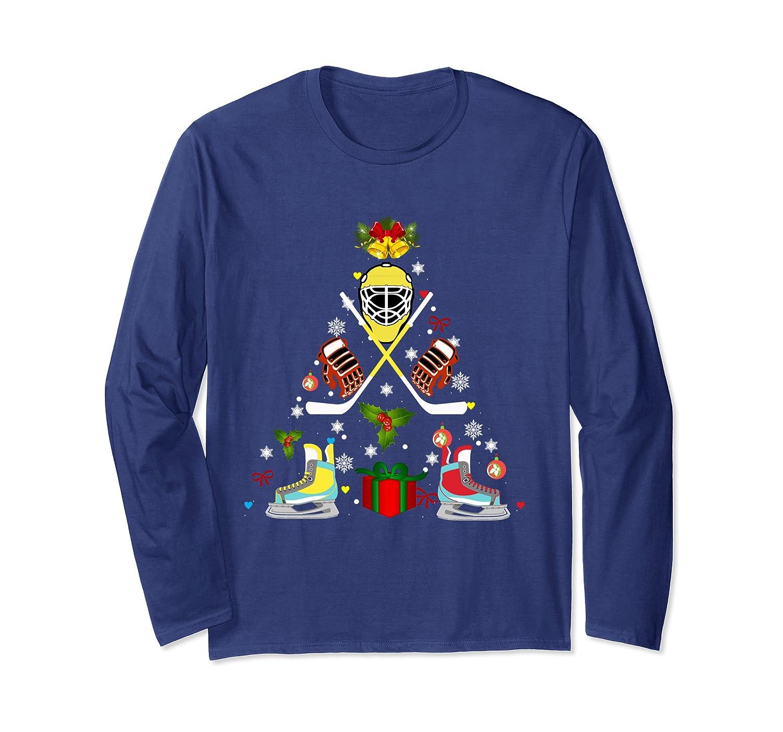 Ice Hockey Christmas Ornament Tree Xmas Long Sleeve T-Shirt-Awarplus