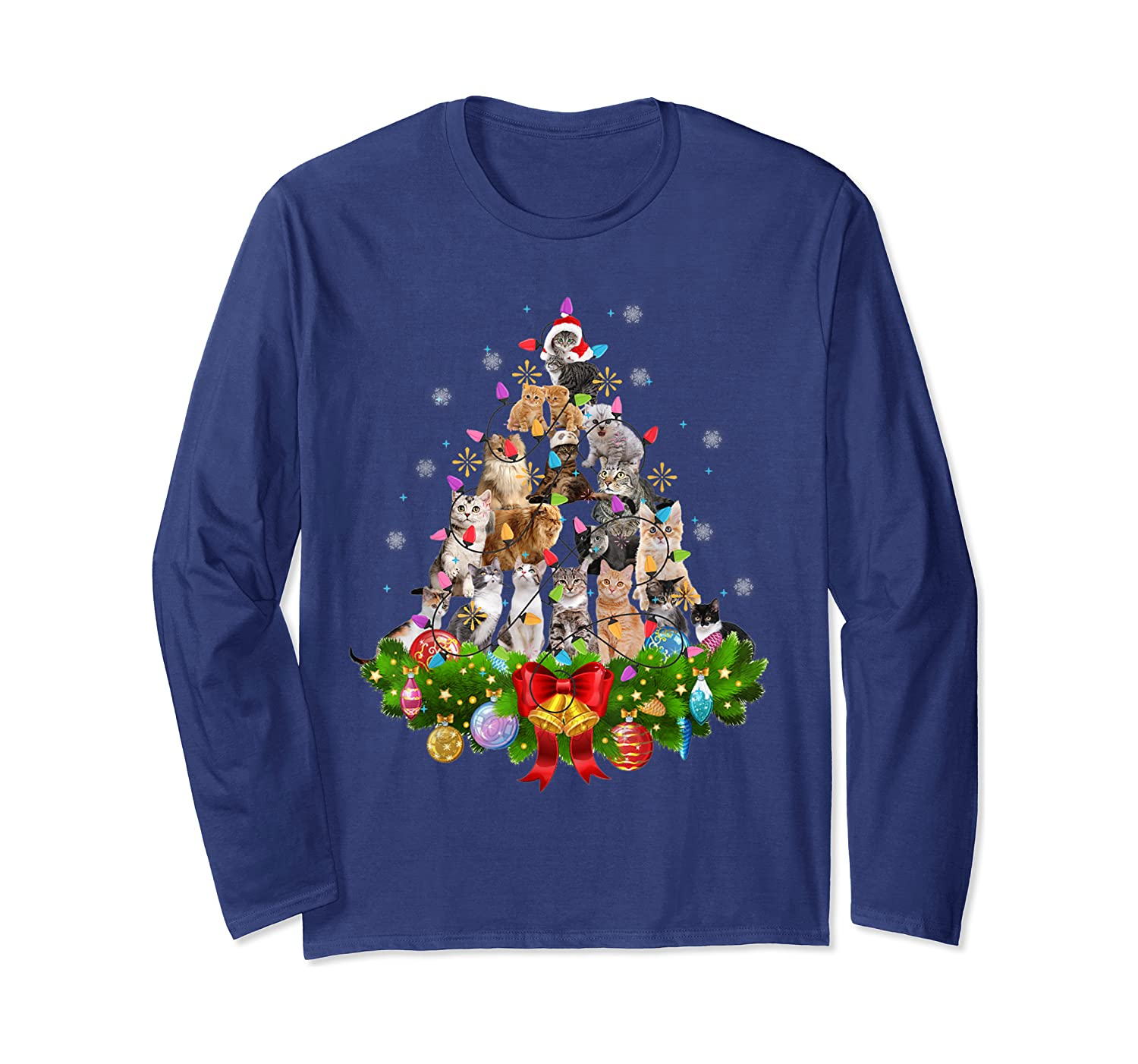 Lovely Cat Lights Christmas Tree T-Shirt For Cat Lovers Long Sleeve T-Shirt-Yolotee