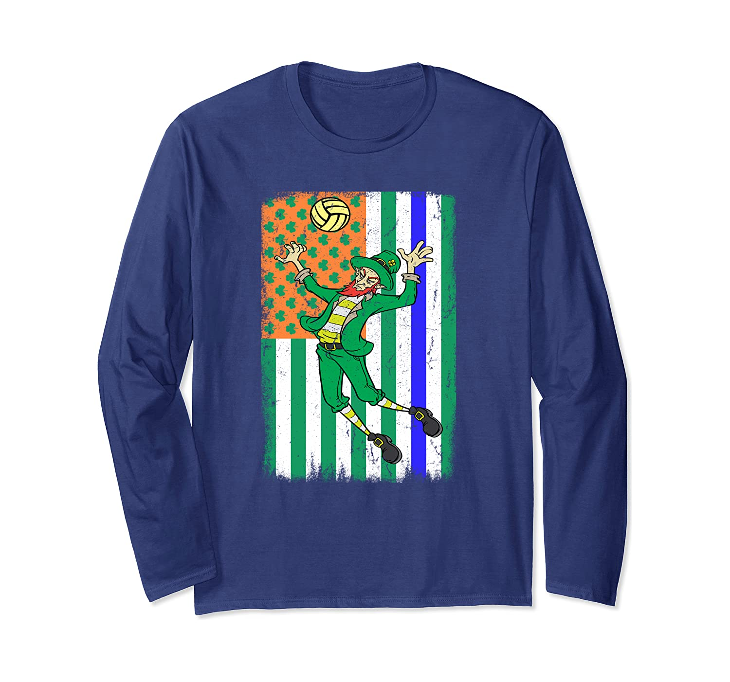 Volleyball Police Officer Cop Irish USA Flag St Patricks Day Long Sleeve T-Shirt-Colonhue