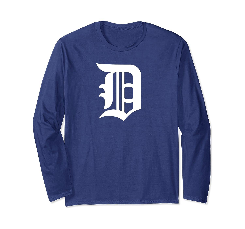 Detroit Baseball D | Vintage Michigan Bengal Tiger Retro Pullover Shirts Long Sleeve T-shirt