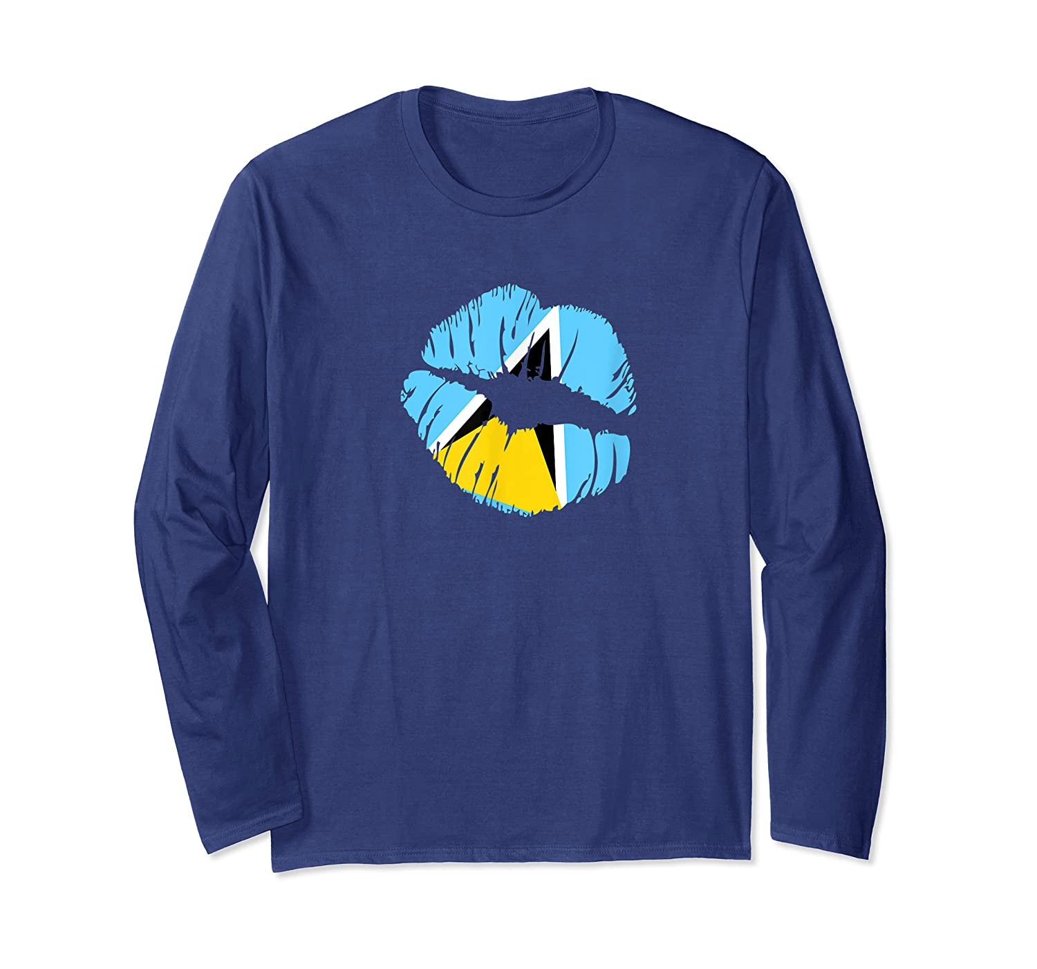 Saint Lucia Independence Day Flag Lips T Shirt Long Sleeve T-shirt