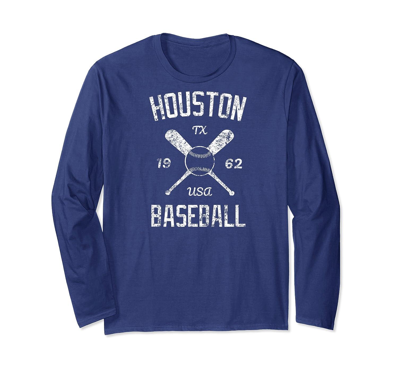 Houston Baseball Vintage Look Distressed 1962 Tshirt Long Sleeve T-shirt