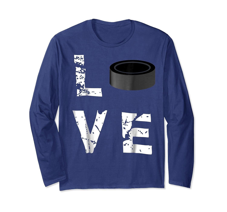 Love Hockey Puck Funny Sports Valentine S Day T Shirt Long Sleeve T-shirt