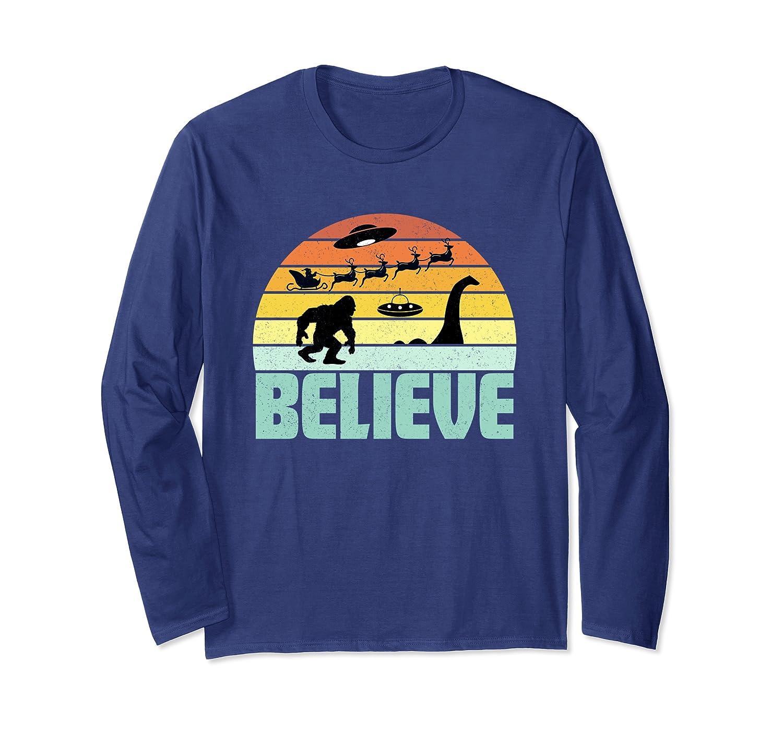 Believe Santa Claus Bigfood Nessie UFO Retro Sunset Gift Long Sleeve T-Shirt