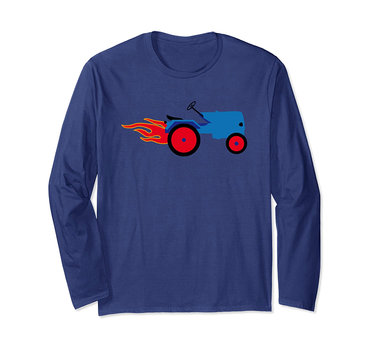 Blue Tractor Flame Fire Tee Gift  Farm Farmer Tractors Long Sleeve T-Shirt