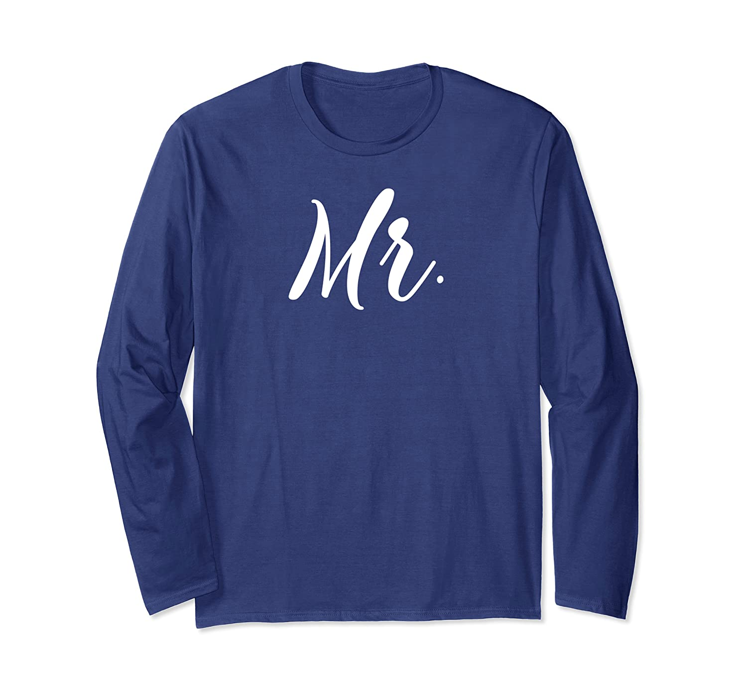 Mr and Mrs Long Sleeve T-Shirt for Honeymoon Couples Mr Set