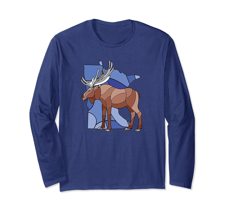 Minnesota Stained Glass Retro Moose Long Sleeve T-Shirt