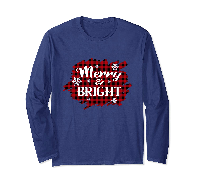 Merry And Bright Buffalo Plaid Christmas Gift Long Sleeve T-Shirt-Cotoa
