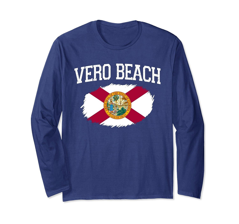 VERO BEACH FL FLORIDA Flag Vintage USA Sports Men Women Long Sleeve T-Shirt
