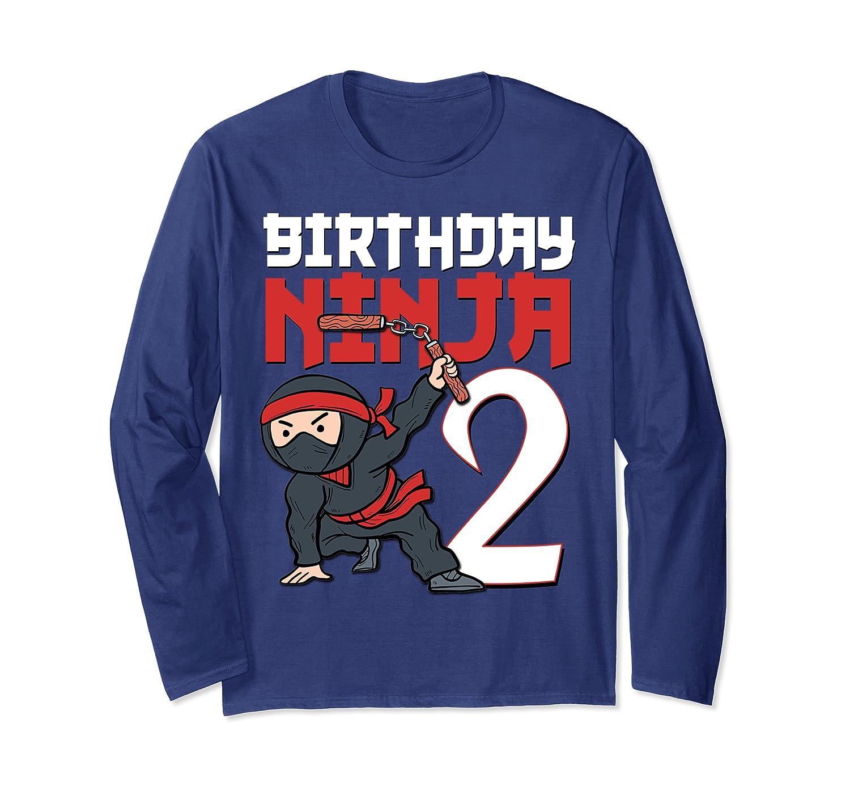 2nd Birthday Ninja I'm 2 Years Old Bday Party Best Boy Long Sleeve T-Shirt