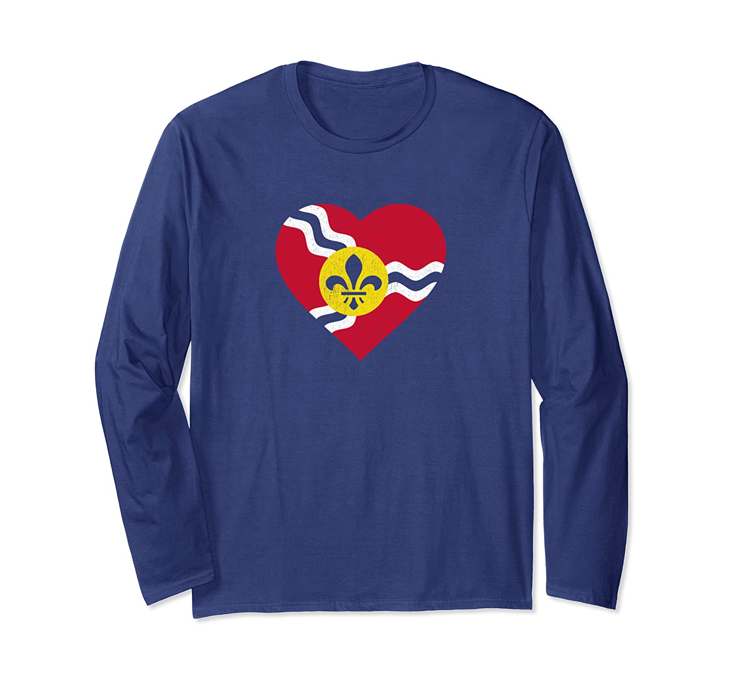I Heart St. Louis Distressed Stl State Flag T-shirt